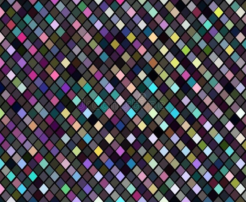 Fondo astratto a quadretti dei pixel iridescenti del mosaico Carta da parati strutturata di luccichio di cristallo dell'ologramma royalty illustrazione gratis