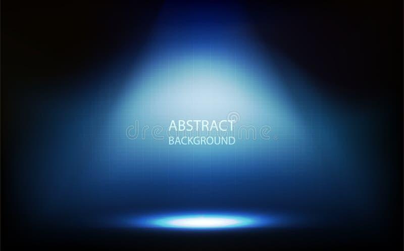 Fondo astratto, riflettore blu nella sala, parete di griglia con l'illustrazione di vettore di tecnologia digitale illustrazione di stock