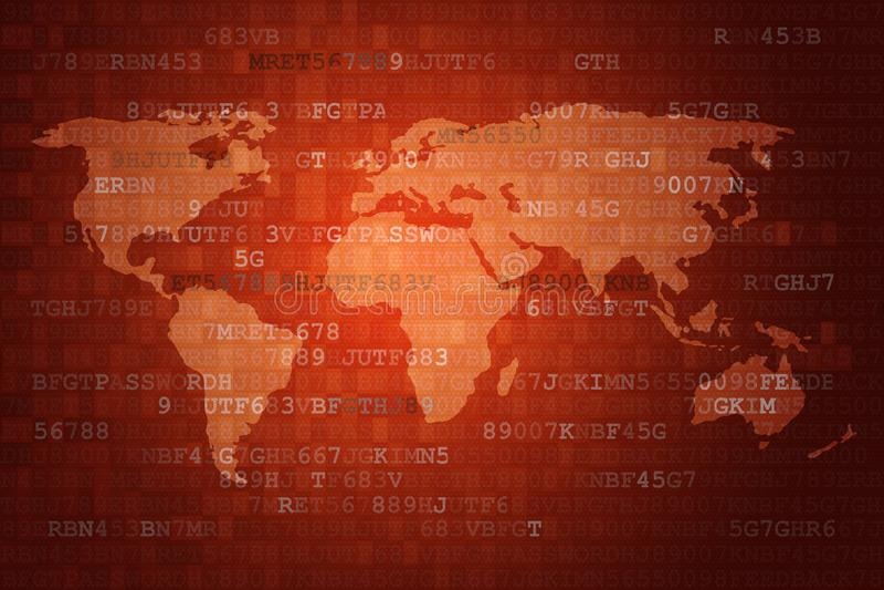 Fondo astratto rosso di tecnologia di Digital con la mappa di mondo royalty illustrazione gratis