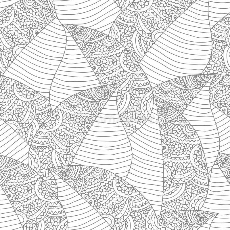 Fondo astratto senza cuciture con le foglie e l'ornamento Il modello senza cuciture per la vostra progettazione wallpapers, tessu illustrazione di stock