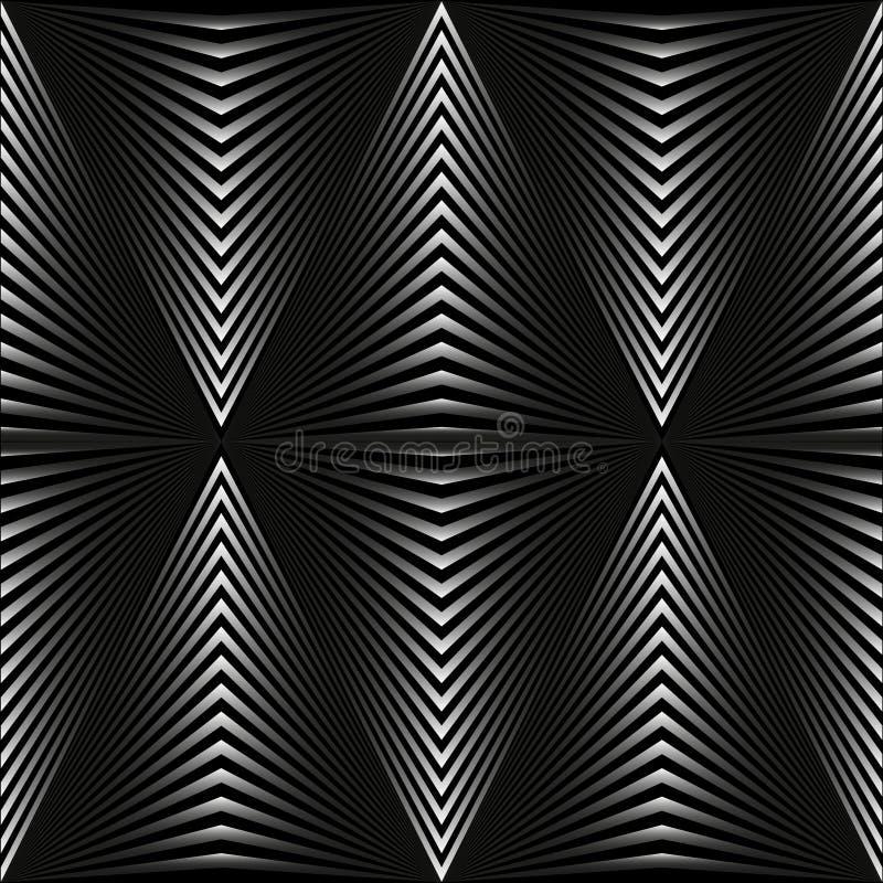 Fondo astratto sotto forma di rombi grigi sul nero illustrazione vettoriale