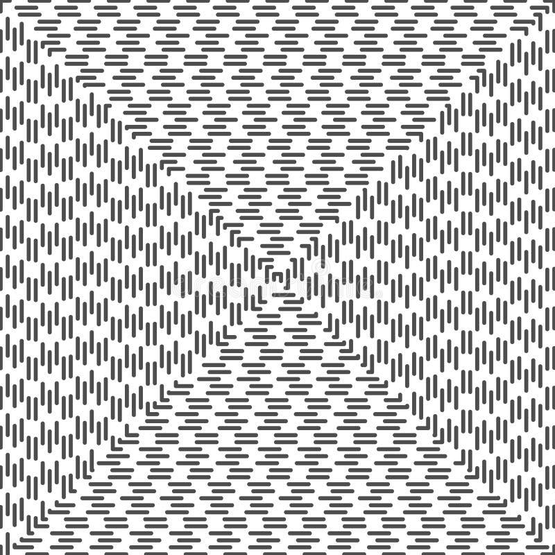 Fondo astratto a spirale quadrato tratteggiato Retro stile illustrazione di stock