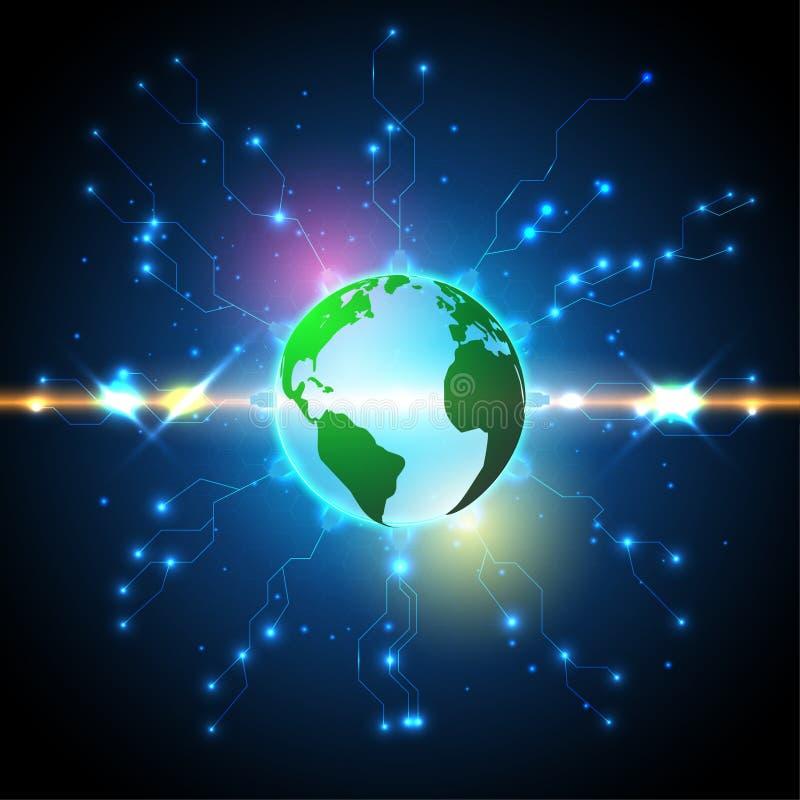 Fondo astratto, tecnologia, circuito, elettrico, con il globo illustrazione vettoriale