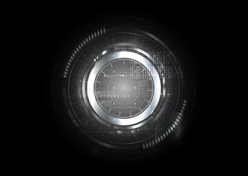 Fondo astratto tecnologico dell'interfaccia del metallo di cybersecurity illustrazione vettoriale