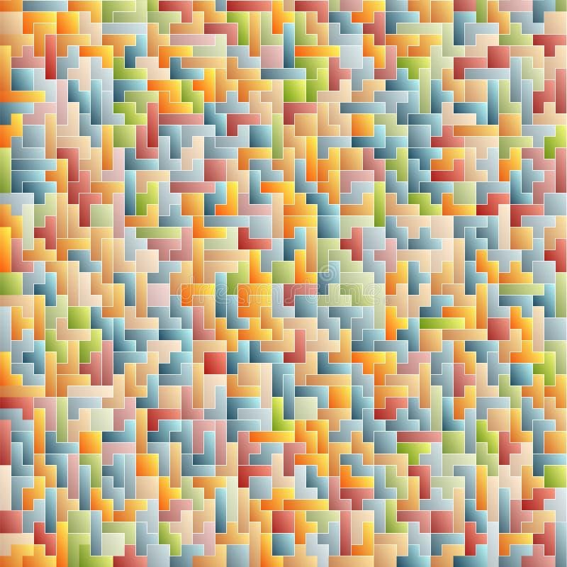 Fondo astratto variopinto di Tetris Reticolo royalty illustrazione gratis