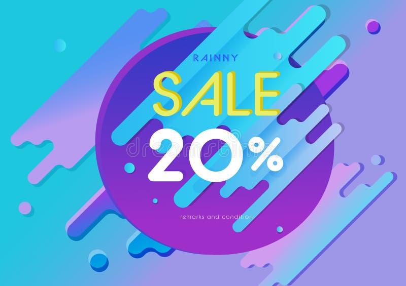 Fondo astratto variopinto ed insegna di vendita a ribasso come l'oggetto di puzzle con il tono rosa viola blu, vettore di progett illustrazione vettoriale