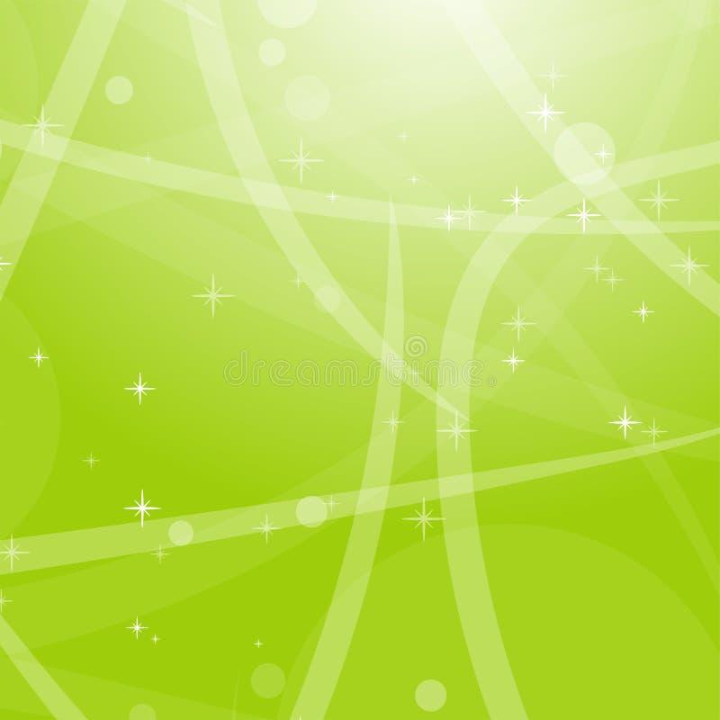 Fondo astratto verde chiaro con le stelle, i cerchi e le bande Illustrazione piana di vettore illustrazione vettoriale