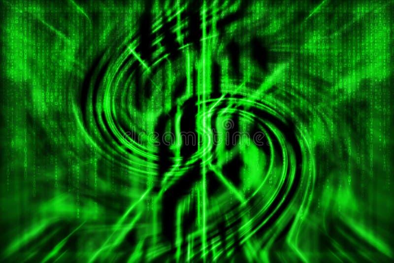 Fondo astratto verde di tecnologia con le linee della curva, con matr illustrazione di stock