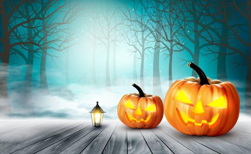 Fondo asustadizo de Halloween con las calabazas libre illustration