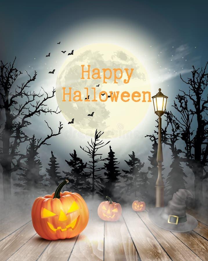 Fondo asustadizo de Halloween con las calabazas y la luna libre illustration