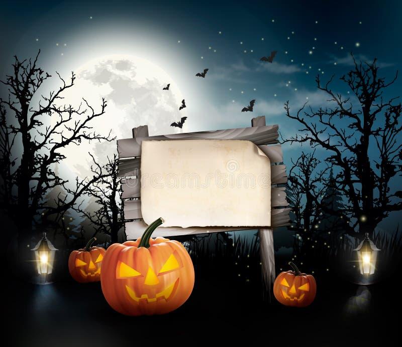 Fondo asustadizo de Halloween con una muestra de madera ilustración del vector