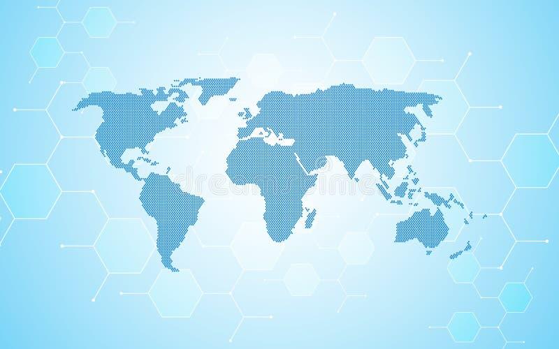 Fondo atómico molecular del concepto de la red del mapa del mundo del diseño de la partícula abstracta stock de ilustración