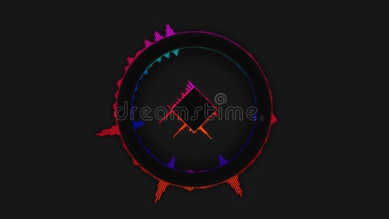 Fondo audio del color del espectro del equalizador simple del círculo Fondo suave del equalizador del color de la caja Círculo de foto de archivo