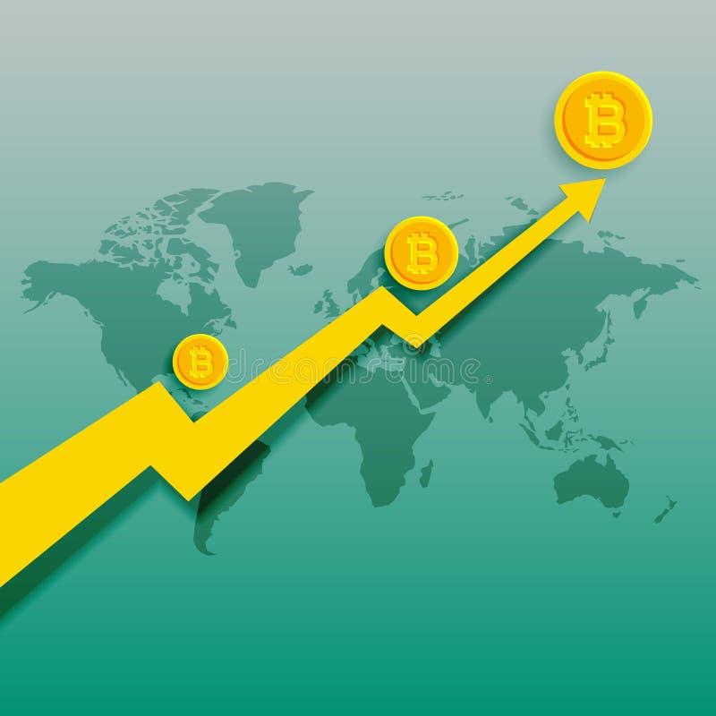 Fondo in aumento di vettore del grafico di tendenza al rialzo di Bitcoins royalty illustrazione gratis
