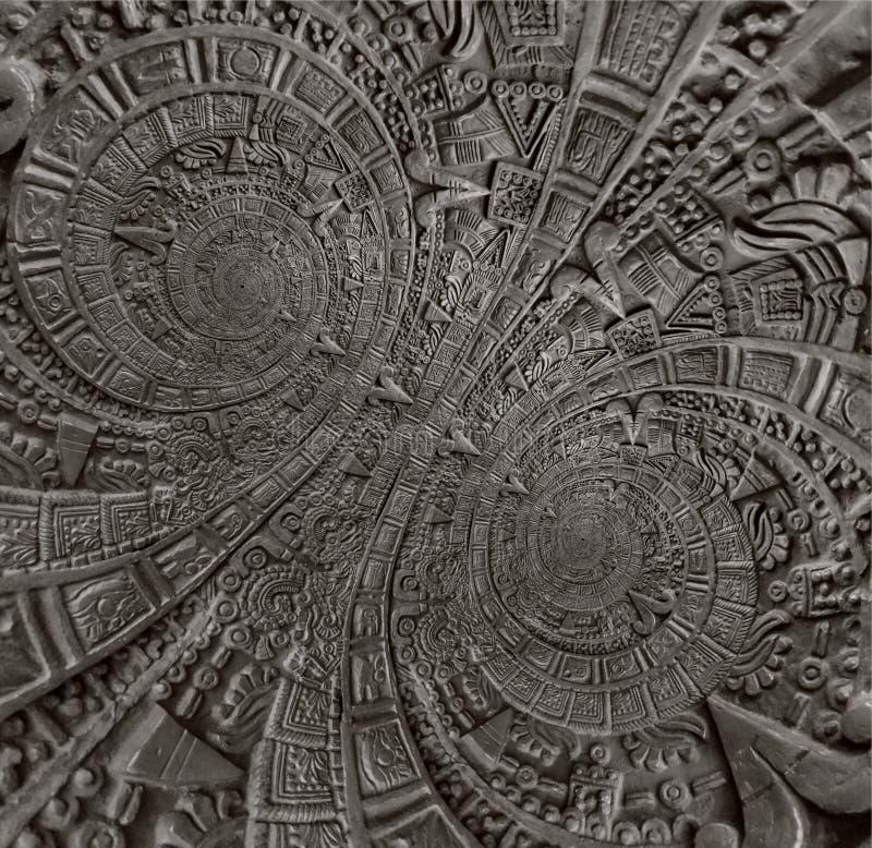 Fondo azteca espiral doble clásico antiguo antiguo de bronce del diseño de la decoración del modelo del ornamento Spira abstracto imagenes de archivo