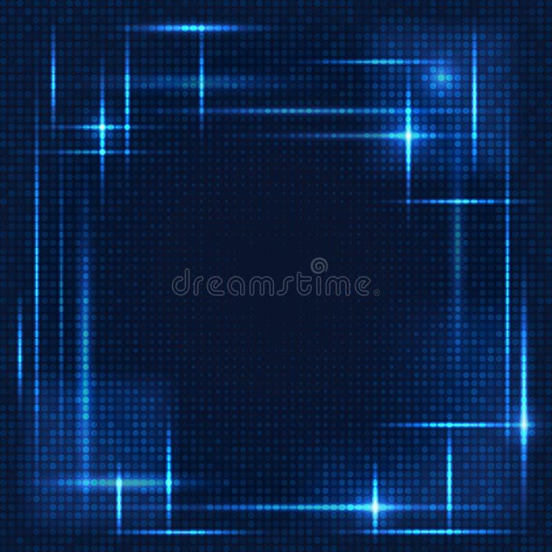 Fondo azul abstracto con los puntos en líneas stock de ilustración