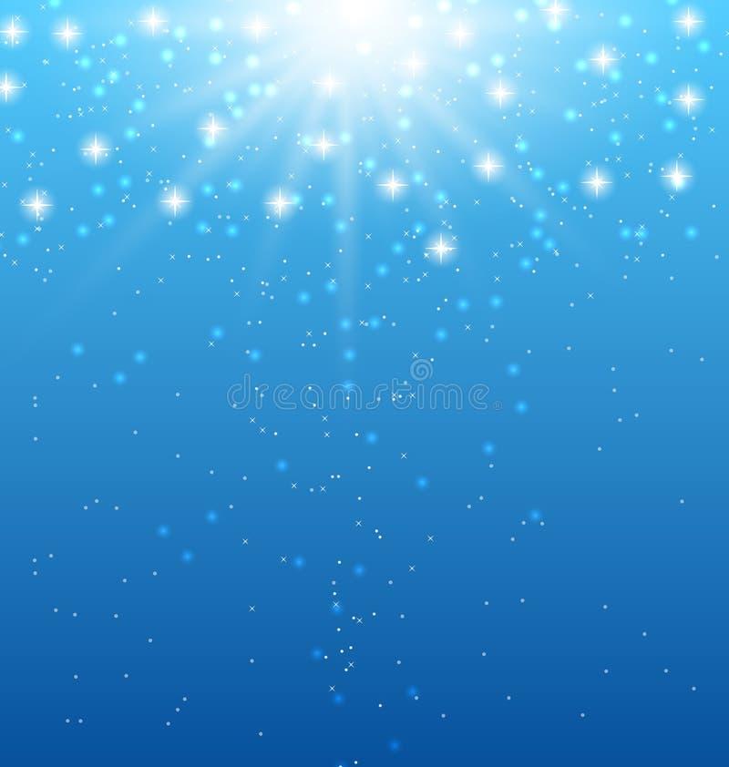 Fondo azul abstracto con los rayos de sol y las estrellas brillantes libre illustration