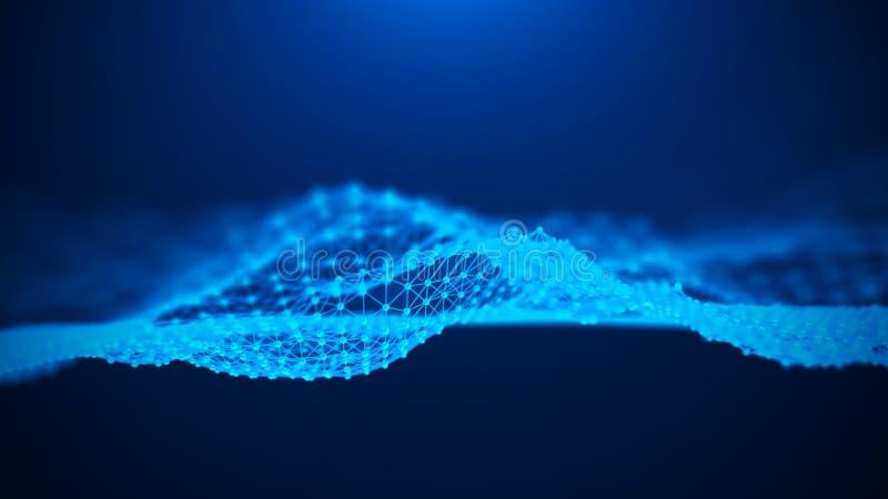 Fondo azul abstracto de la música Onda ac?stica Elemento futurista del AI de la tecnología Visualizaci?n grande de los datos repr ilustración del vector