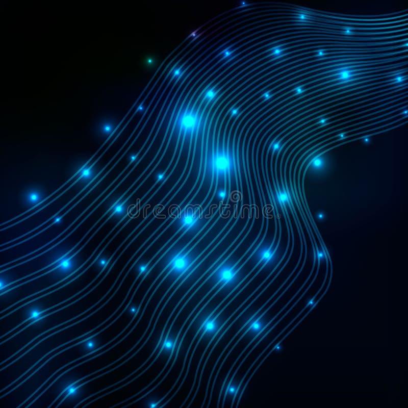 Fondo azul abstracto de la tecnología de la onda ilustración del vector