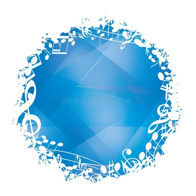 Fondo azul abstracto del vector con el marco redondo blanco de la música ilustración del vector