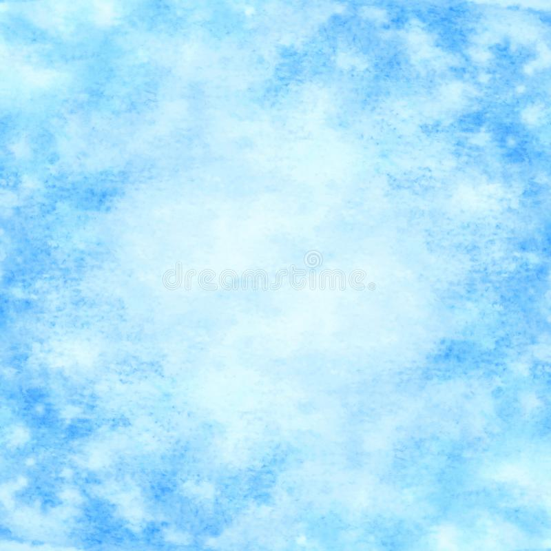 Fondo azul abstracto dibujado mano de la acuarela ilustración del vector