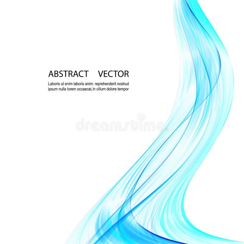 Fondo azul abstracto para el folleto, página web, diseño de vector de onda del aviador Onda azul del humo stock de ilustración