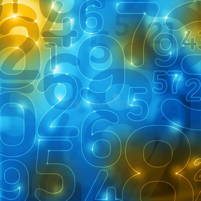 Fondo azul amarillo del extracto de los números que brilla intensamente ilustración del vector