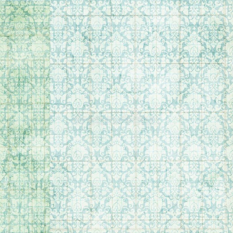 Fondo azul apenado sucio del damasco de la vendimia ilustración del vector