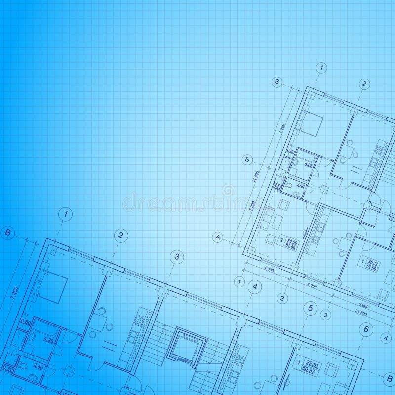 Fondo azul arquitectónico. ilustración del vector