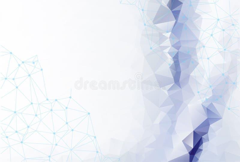 Fondo azul blanco poligonal del extracto con los puntos y las líneas conectados, estructura de la conexión, fondo futurista del h stock de ilustración