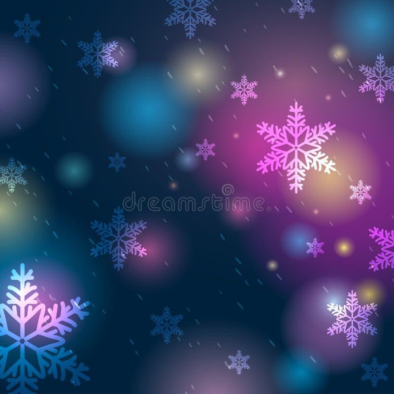 Fondo azul brillante con el bokeh y los copos de nieve, vector stock de ilustración