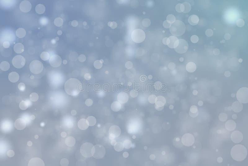 Fondo azul brillante de la falta de definición del bokeh Día de fiesta de las partículas del círculo del brillo que brilla intens ilustración del vector