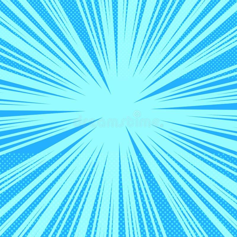 Fondo azul brillante de la página del cómic stock de ilustración