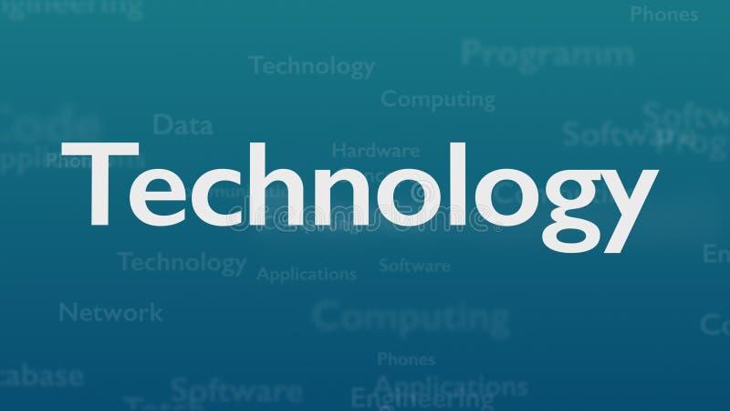 Fondo azul claro con diversas palabras, que se ocupan de tecnología Cierre para arriba Copie el espacio 3d ilustración del vector