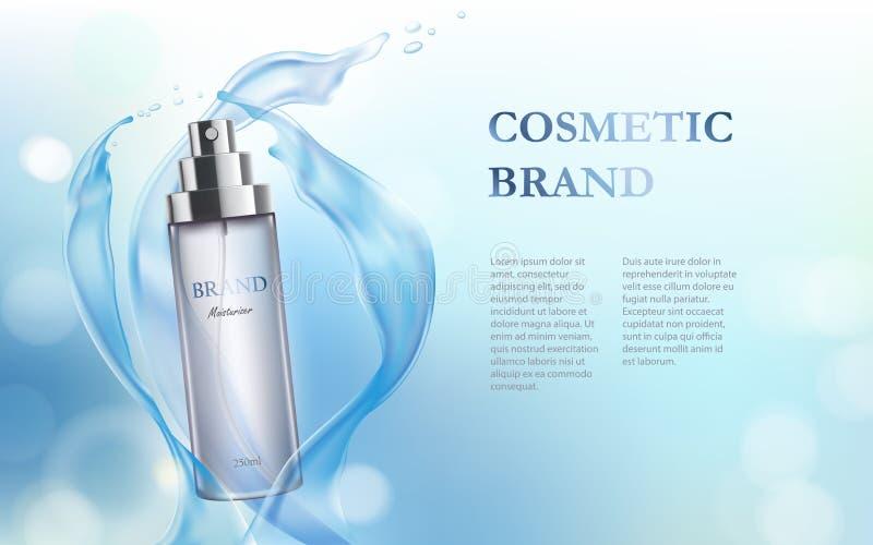 Fondo azul claro con la hidratación del producto superior cosmético ilustración del vector