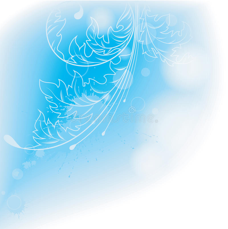 Fondo azul claro con las hojas. stock de ilustración