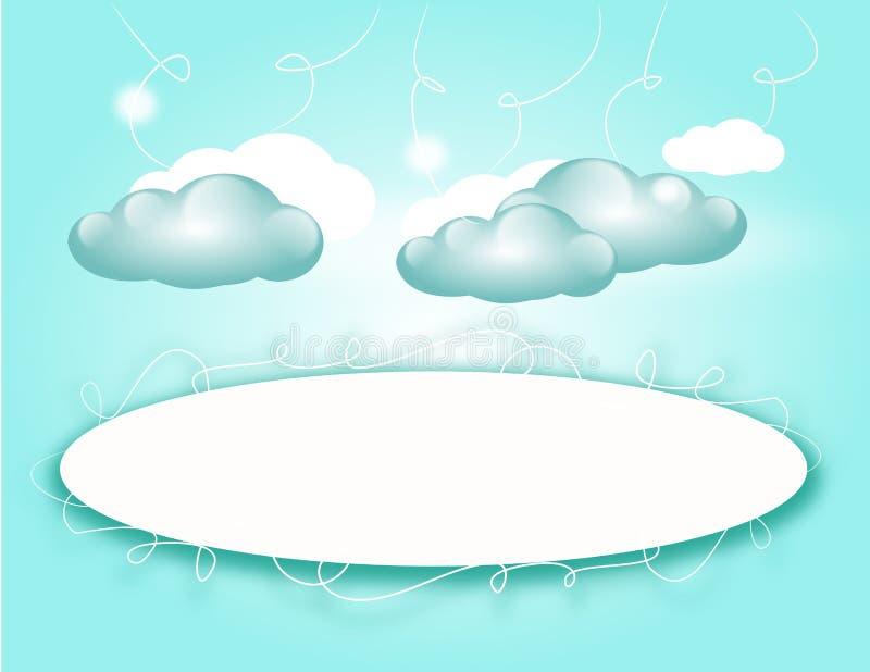 Fondo azul claro con las nubes stock de ilustración