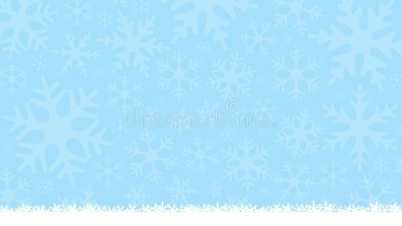 Fondo azul claro del invierno con las siluetas del copo de nieve Fondo suave del Año Nuevo y de la Navidad Tarjeta de felicitació stock de ilustración