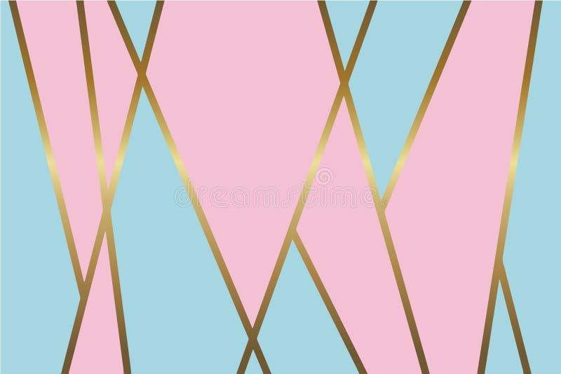 Fondo azul claro y rosado abstracto con las líneas de oro metálicas brillantes del mosaico stock de ilustración