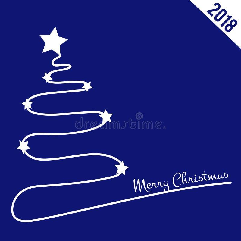 Fondo azul con el árbol de navidad, de la Navidad tema 2018 stock de ilustración