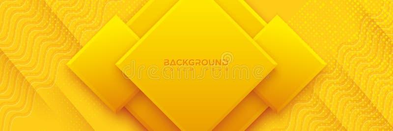 Fondo azul con la composición anaranjada y amarilla del color bajo la forma de rectángulo o Rhombus Fondo abstracto con a stock de ilustración