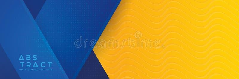 Fondo azul con la composición anaranjada y amarilla del color en extracto Fondos abstractos con una combinación de líneas y de cí libre illustration