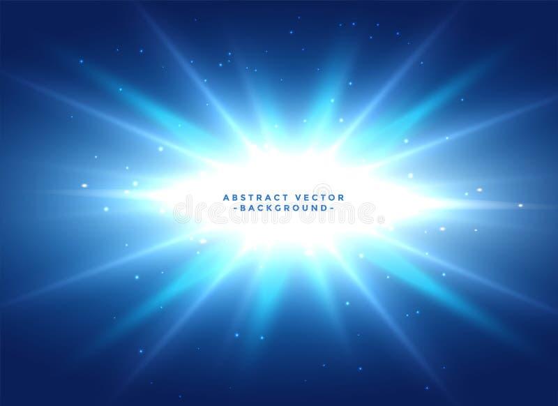 Fondo azul con la explosión brillante de la estrella stock de ilustración