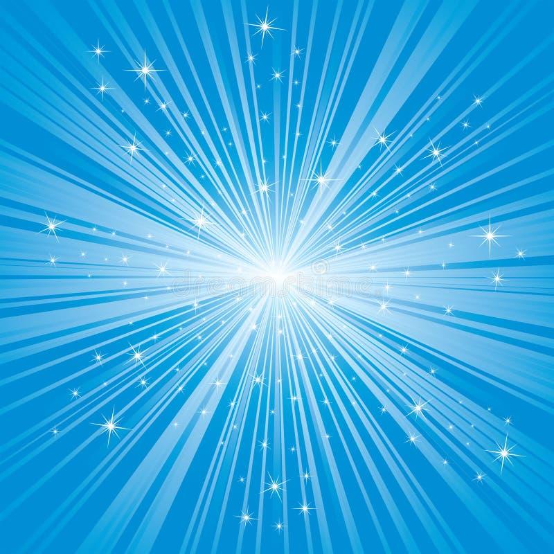Fondo azul con las estrellas stock de ilustración