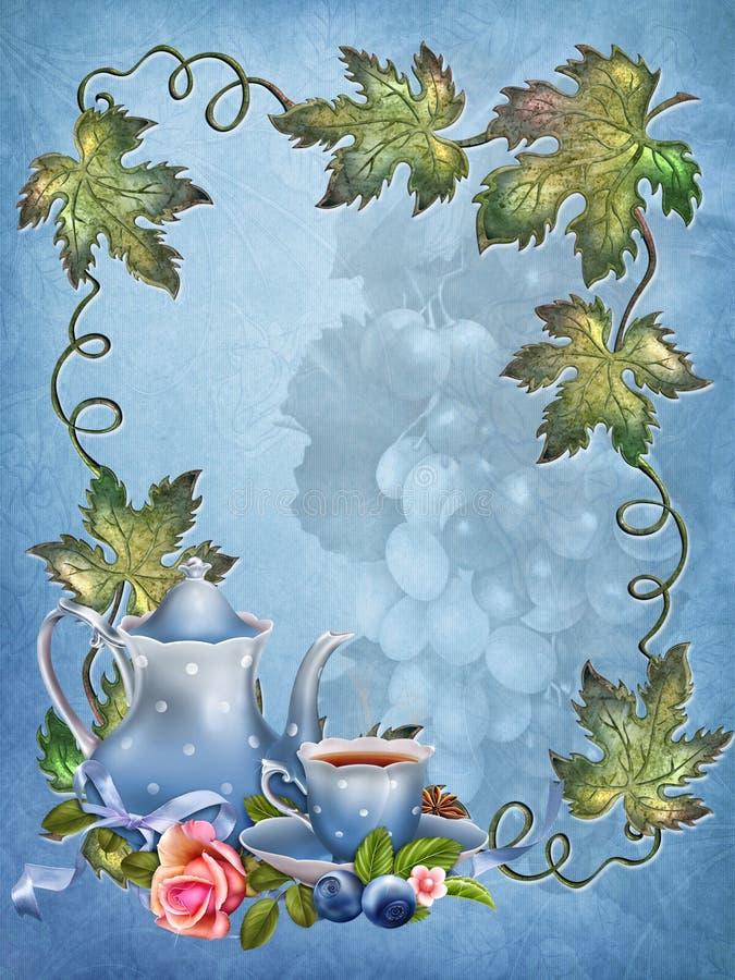 Fondo azul con las hojas y la taza de té stock de ilustración