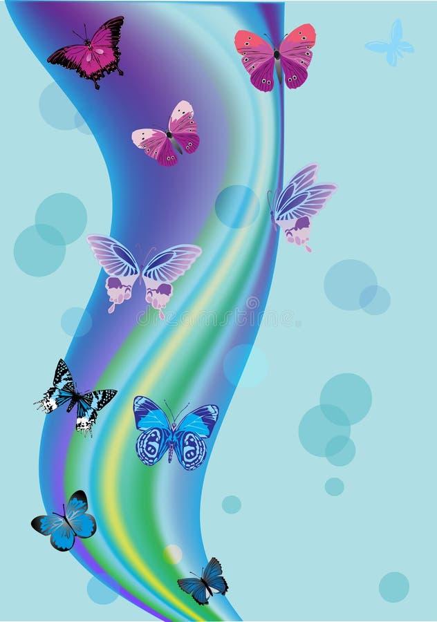 Fondo azul con las mariposas y los círculos stock de ilustración