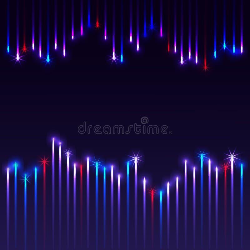 Fondo azul con los fuegos artificiales stock de ilustración