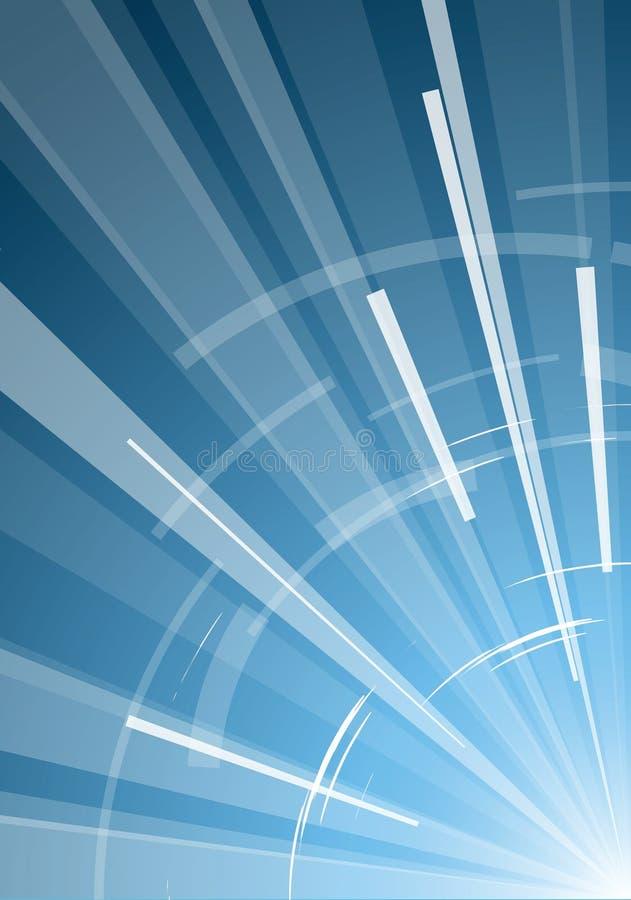 Fondo azul con los rayos ilustración del vector