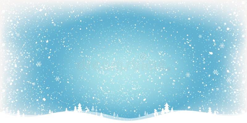 Fondo azul con paisaje, copos de nieve, luz, estrellas de la Navidad del invierno Tarjeta de Navidad y del Año Nuevo libre illustration