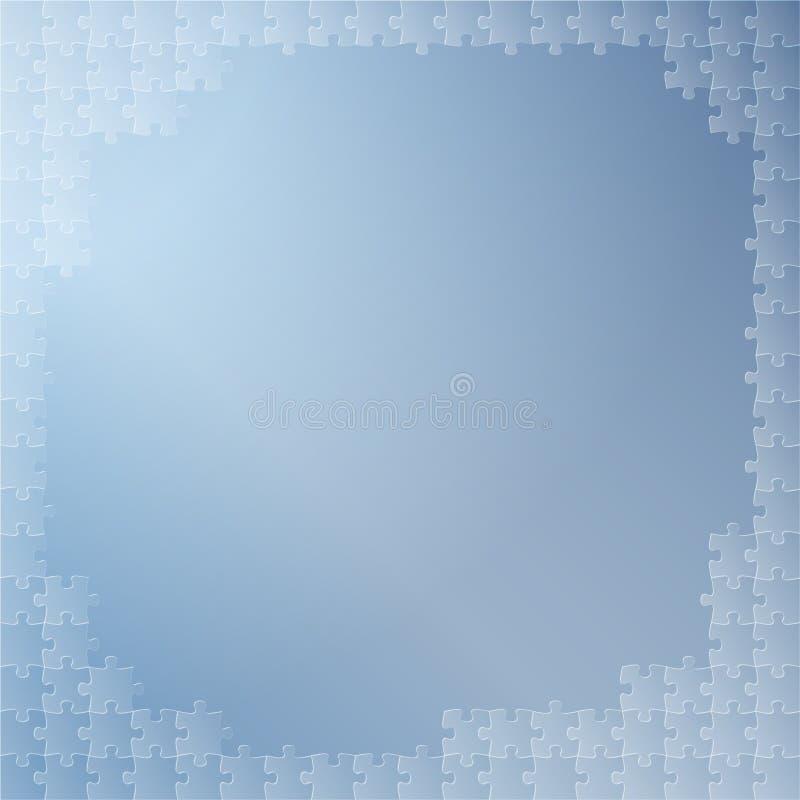 Fondo azul con rompecabezas stock de ilustración